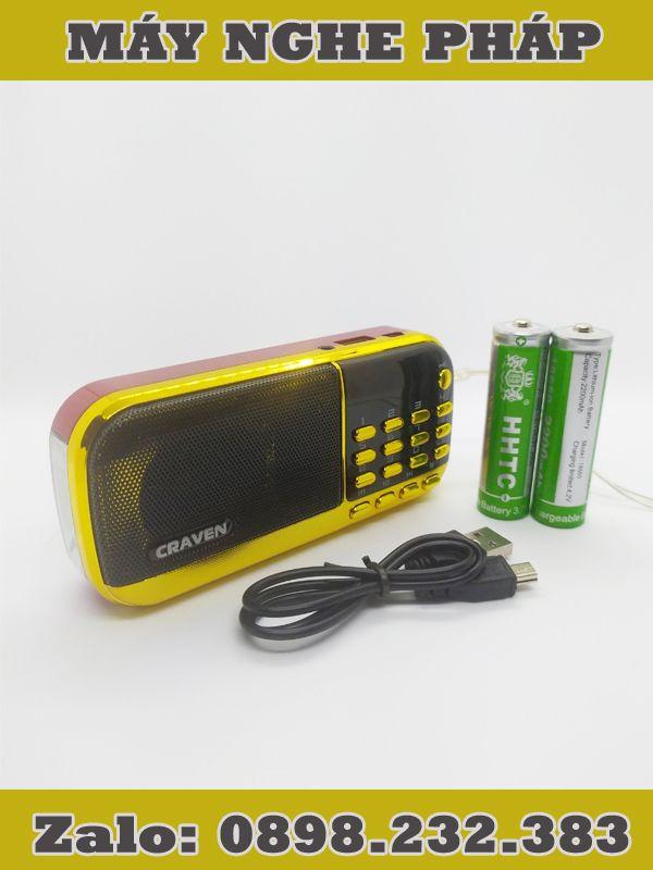 Máy nghe pháp CR-836S hỗ trợ thẻ nhớ, USB, có đèn pin