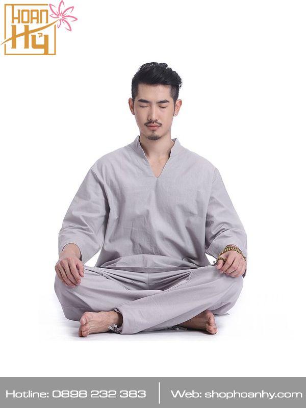 PP023 - Bộ đồ đi chùa, ngồi thiền, yoga, dưỡng sinh cho nam màu lam - Cổ V