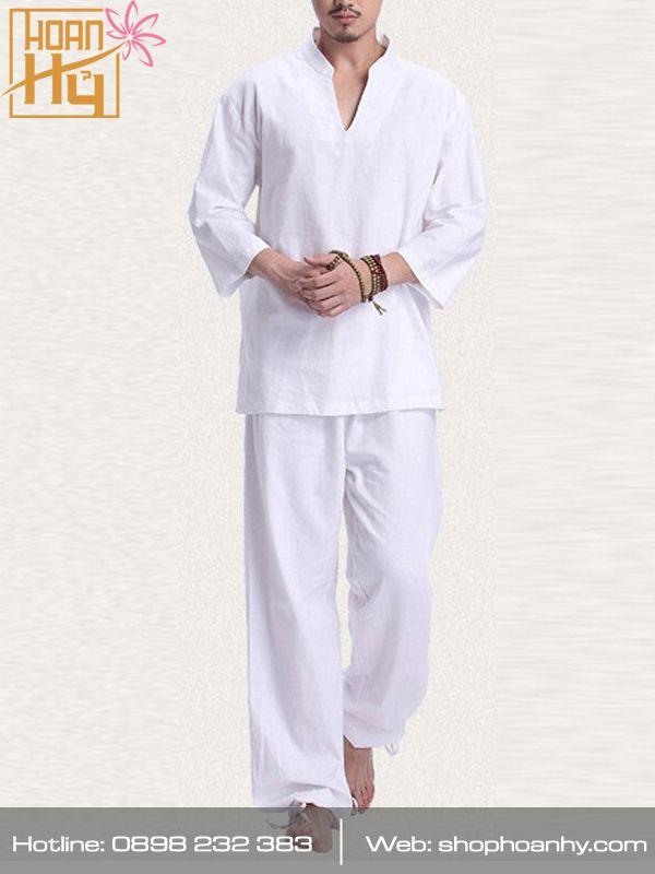 PP024 - Bộ quần áo đi chùa, thiền định, dưỡng sinh cho nam màu trắng - Cổ V