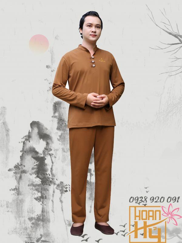 Mẫu PP010 - Bộ quần áo Phật tử nam dài tay cổ trụ - thun Compact