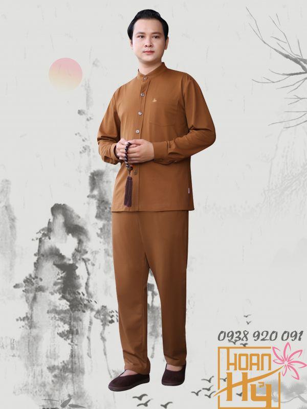 Mẫu PP011 - Bộ quần áo đi chùa dài tay cho Nam một túi trên