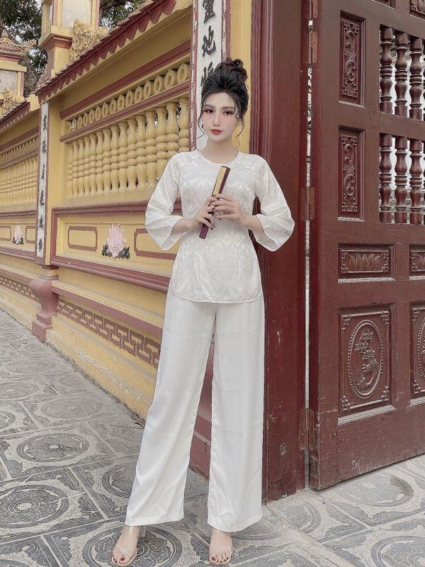 MẪU PP001 - Bộ áo bà ba đi lễ chùa cách tân cổ tròn màu trắng