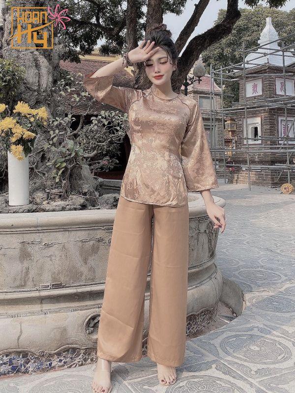 Mẫu PP002 - Bộ áo bà ba cách tân chùa vải lụa màu cafe sữa