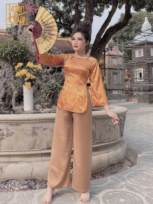 PP006 - Bộ áo bà cách tân đi chùa cổ tròn màu cam