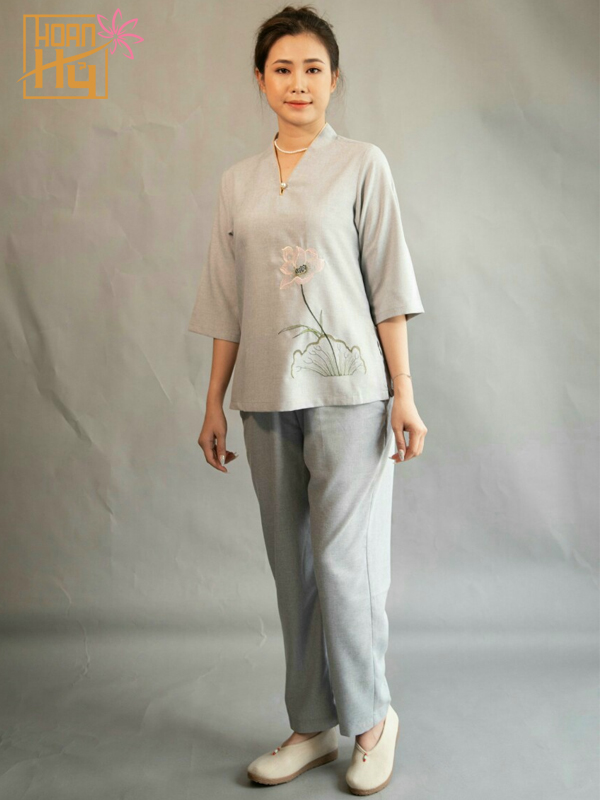 Mẫu PP007 - Bộ đồ đi chùa nữ linen Đài Loan màu Lam