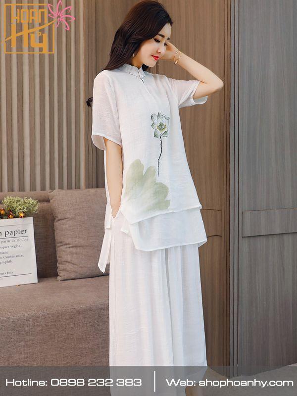 PP017 - Bộ quần áo ngồi thiền màu trắng cổ 2 giọt lệ 2 lớp áo - vải tơ đũi