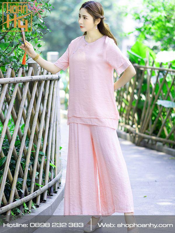 PP020 - Bộ quần áo ngồi thiền trơn cổ tròn 2 lớp áo - màu lam