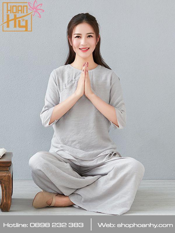 PP019 - Bộ quần áo ngồi thiền trơn cổ tròn 2 lớp áo - màu lam