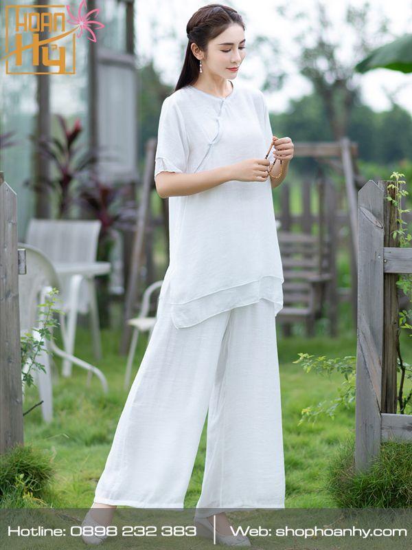 PP018 - Bộ quần áo ngồi thiền trơn cổ tròn 2 lớp áo - màu trắng