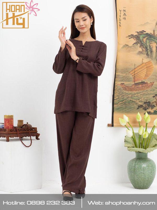 PP021 - Bộ đồ ngồi thiền, yoga, dưỡng sinh, lễ chùa 3 nút khóa màu nâu- vải linen